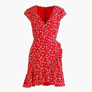 JCrew red floral dress